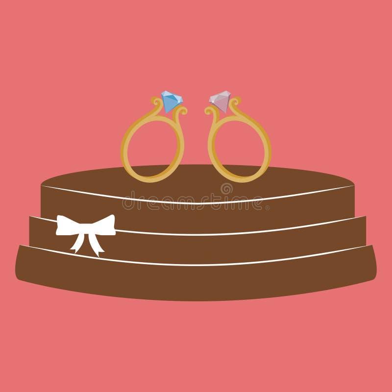 Vector la cartolina d'auguri minimalistic di nozze con il dolce e gli anelli di diamante isolati su fondo rosa illustrazione vettoriale