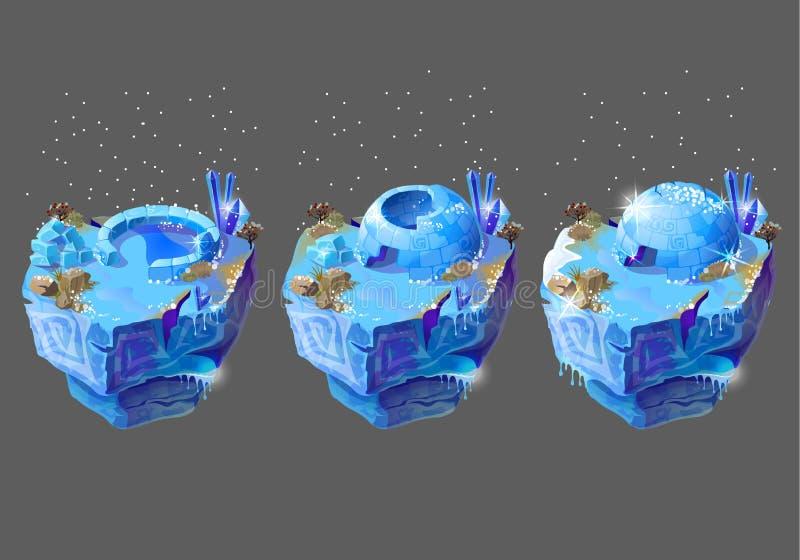 Vector la casa azul del hielo de la historieta para el diseño de juego ilustración del vector
