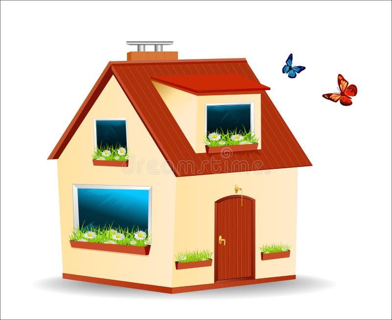 Vector la casa con le pareti gialle, tetto rosso illustrazione di stock