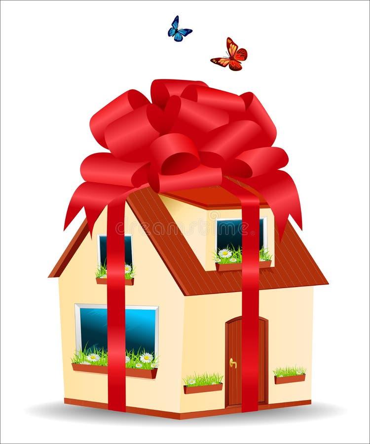 Vector la casa con le pareti gialle, tetto rosso royalty illustrazione gratis