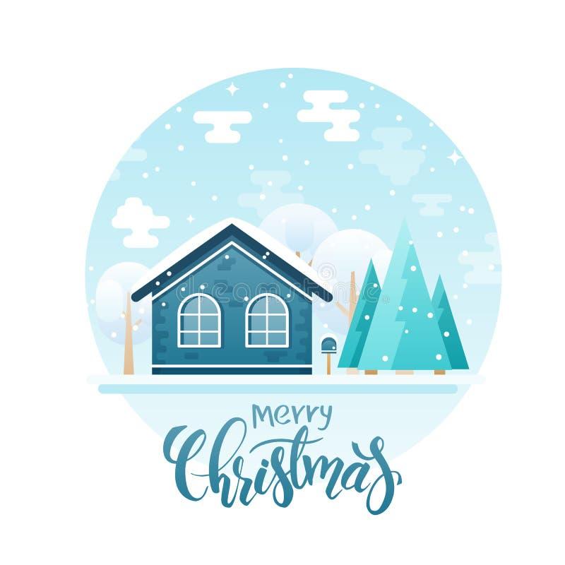 Vector la casa de campo plana del estilo con las piceas y los árboles con la cita de las letras - Feliz Navidad Ahora está nevand stock de ilustración