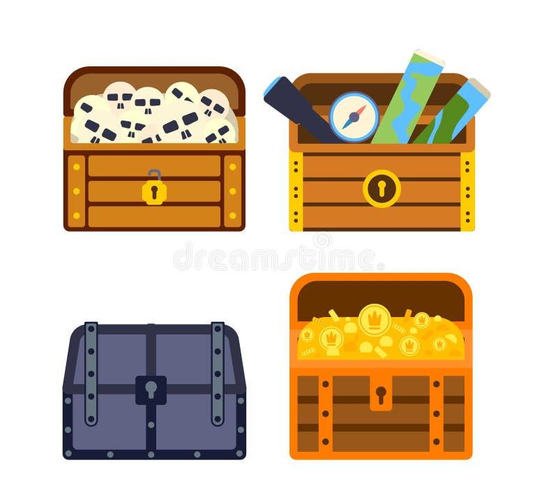 Vector la cassa di tesoro con l'illustrazione delle monete royalty illustrazione gratis