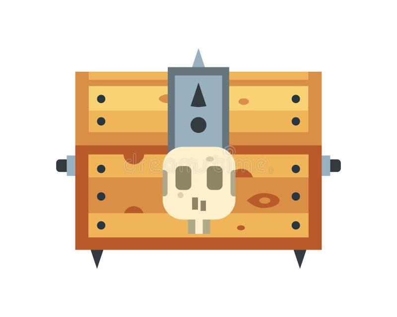 Vector la cassa di tesoro con l'illustrazione delle monete illustrazione vettoriale