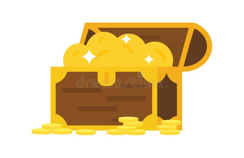 Vector la cassa di tesoro con l'illustrazione delle monete illustrazione di stock