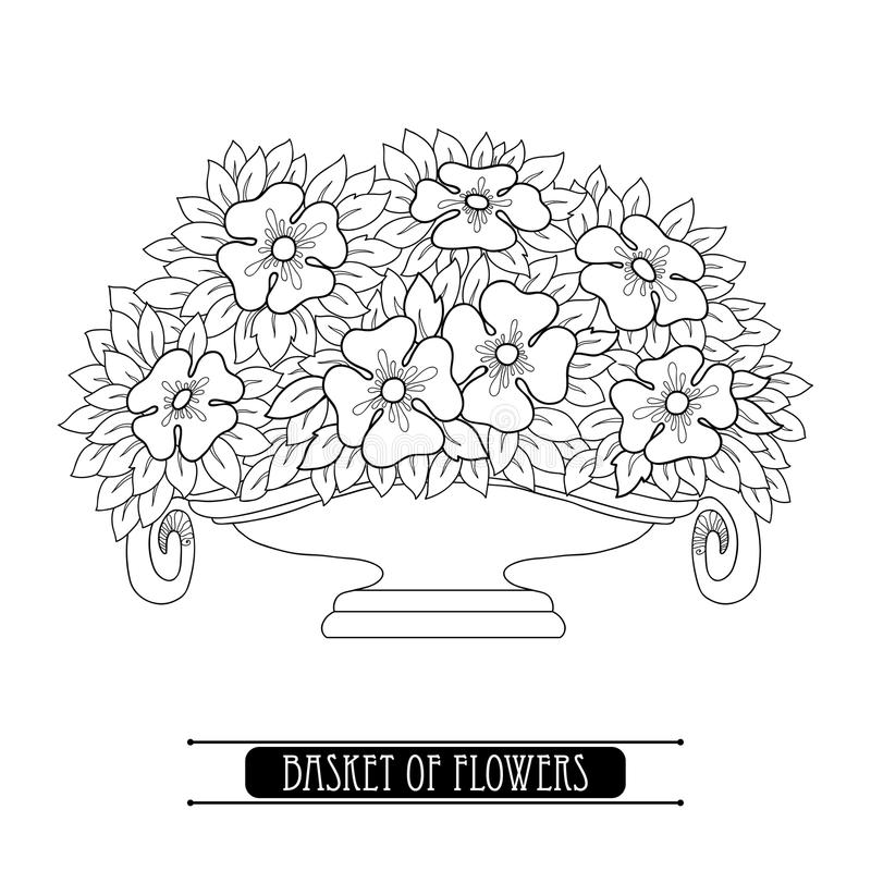 Vector la cesta con el ramo estilizado de flor en Art Nouveau o de estilo moderno en negro aislado en blanco ilustración del vector