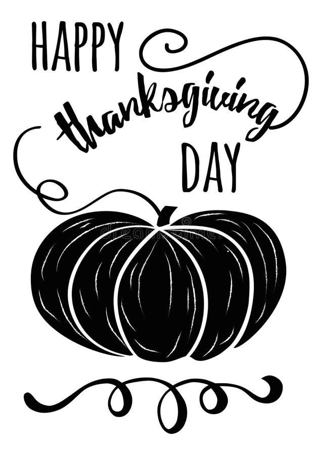 Vector la cita inspirada negra dibujada mano del pampkin y de la acción de gracias en día feliz de la acción de gracias del fondo libre illustration