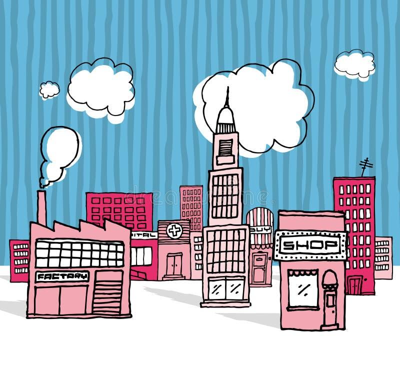 Vector La Città/vicinanza Del Fumetto Immagini Stock Libere da Diritti