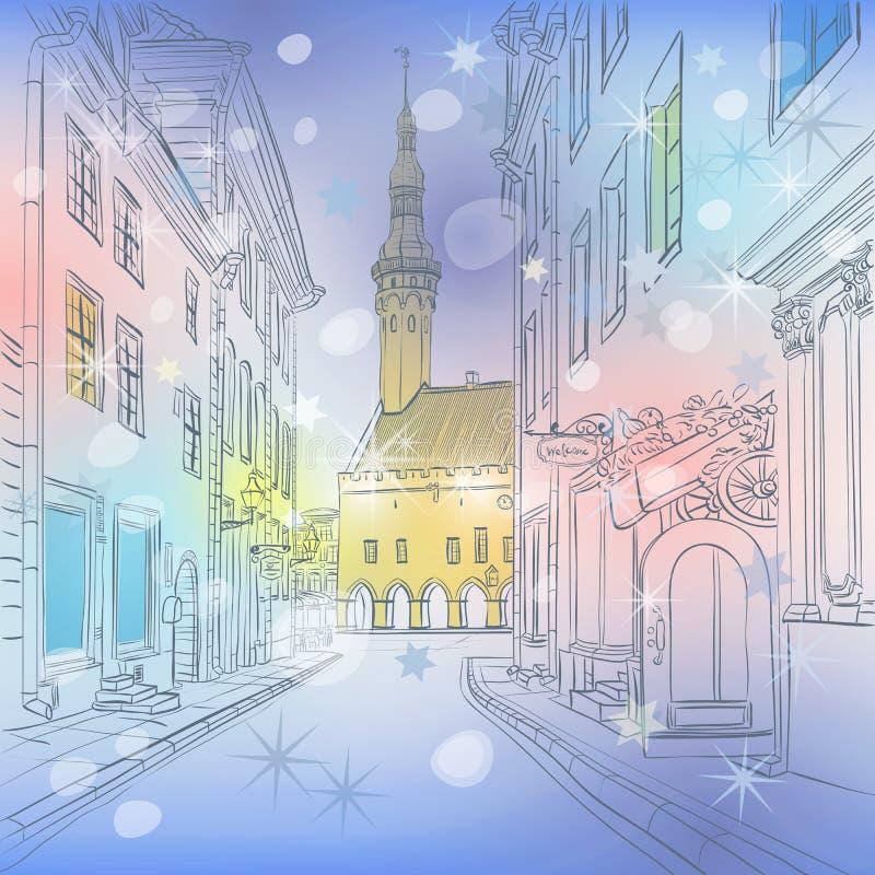 Vector la ciudad vieja medieval del invierno, Tallinn, Estonia libre illustration