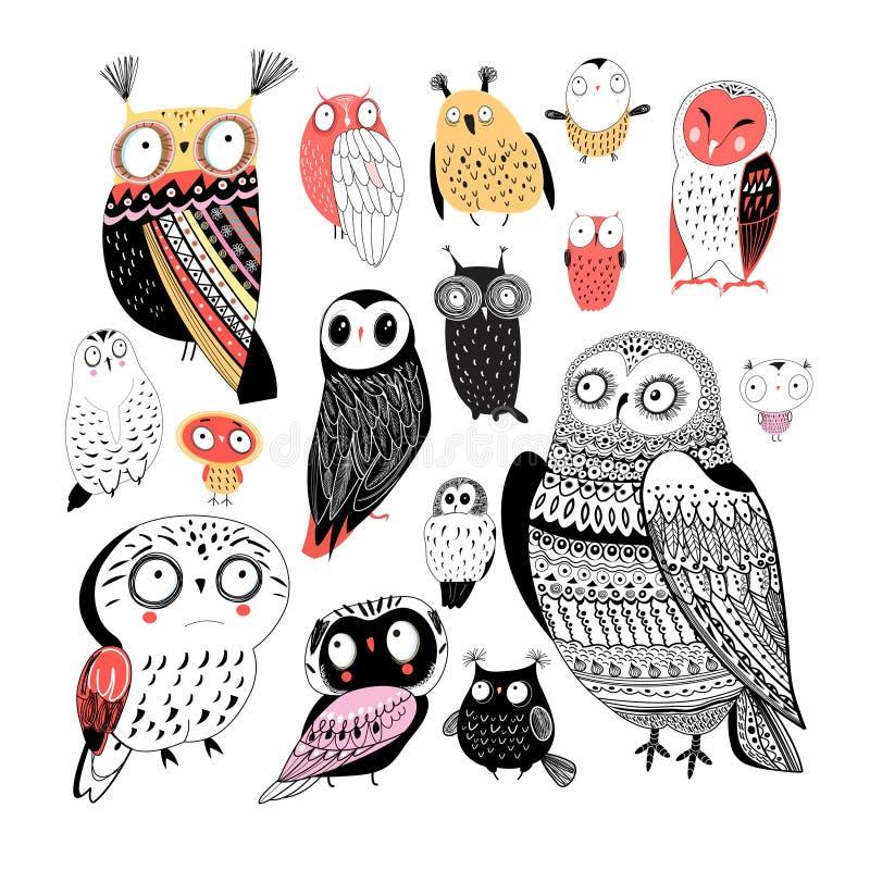 Vector la colección alegre de búhos gráficos en un fondo blanco stock de ilustración