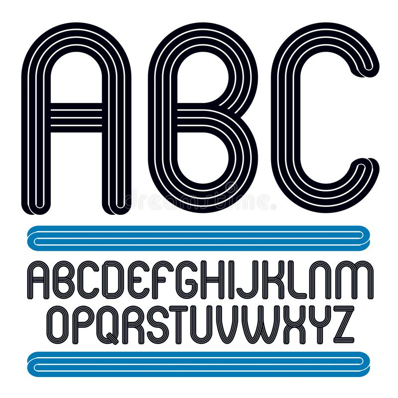 Vector la colección capital enrrollada de las letras del alfabeto, mejor para el uso i ilustración del vector