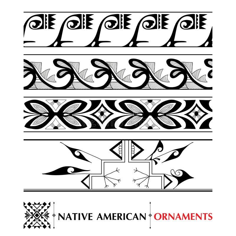 Vector la colección con el modelo inconsútil del nativo americano aislado en el fondo blanco Ornamentos y fronteras étnicos libre illustration
