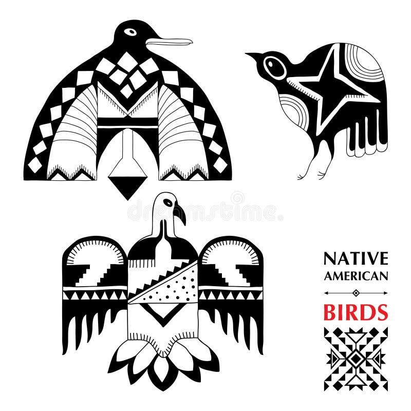 Vector la colección con los pájaros esquemáticos del nativo americano aislados en blanco Elementos étnicos del ornamento ilustración del vector