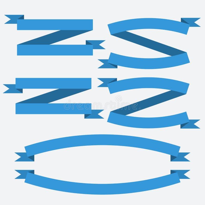 Vector la colección de banderas planas azules de las cintas del vintage ilustración del vector
