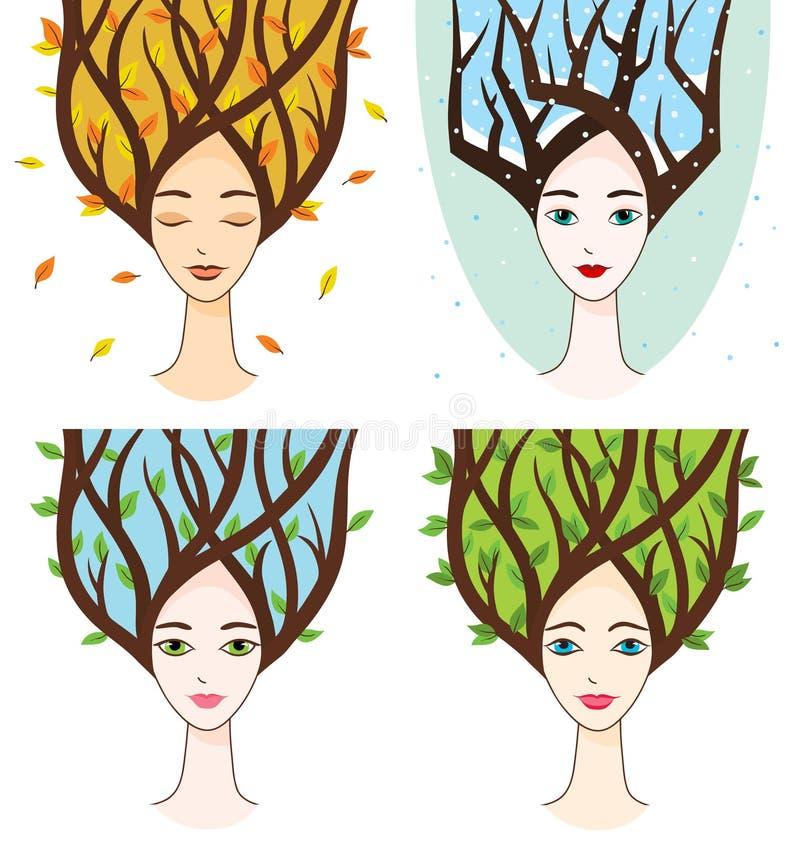 Vector la colección de cara de la mujer con símbolos de estaciones stock de ilustración