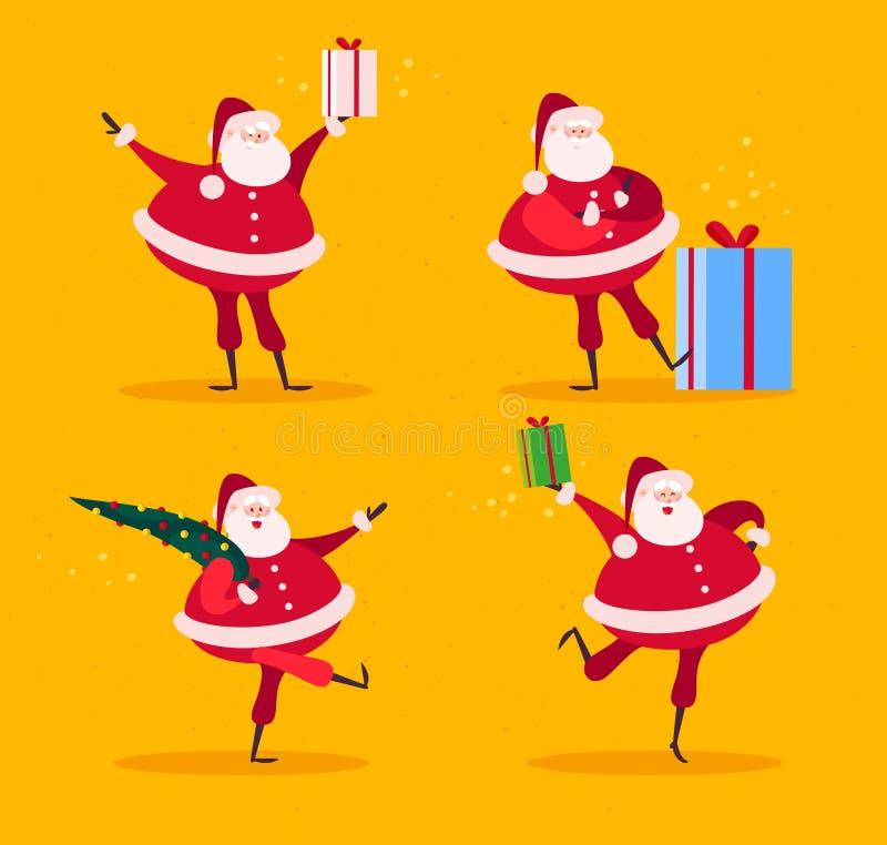 Vector la colección de caracteres divertidos planos de Santa Claus con el árbol de abeto y de cajas de regalo aisladas en fondo a stock de ilustración