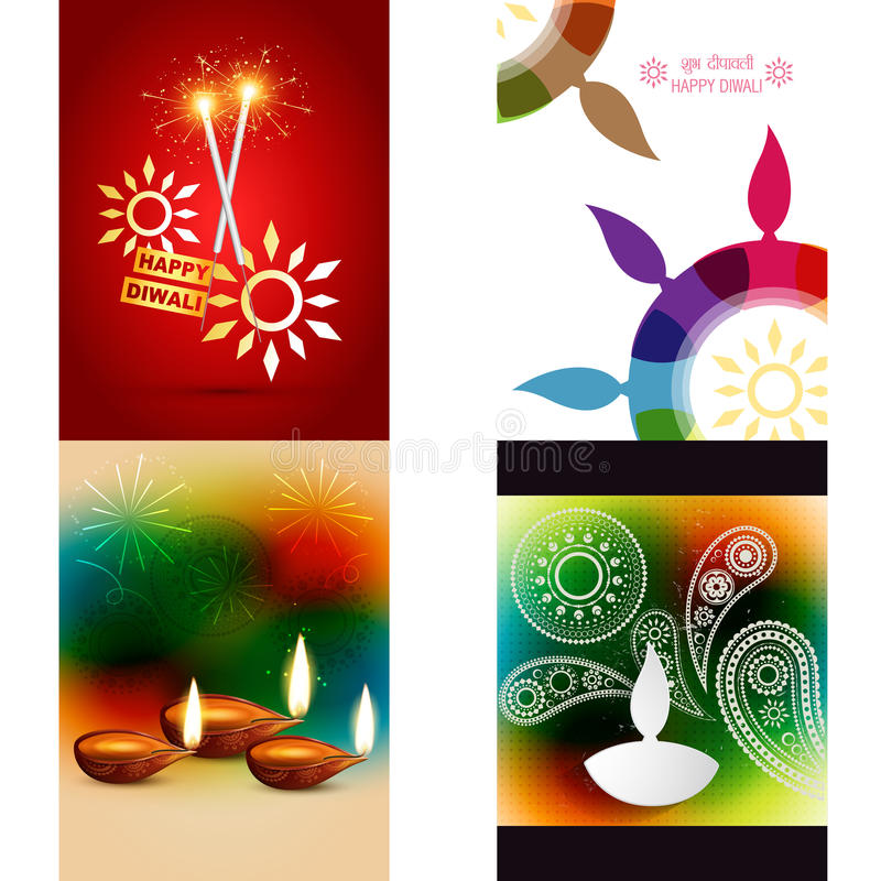 Vector la colección de diversos tipos de fondo del diwali libre illustration