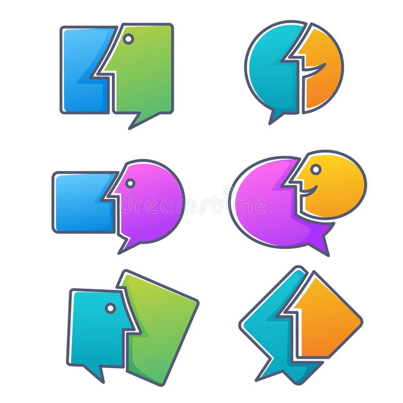 Vector la colección de hablar, de discurso, de charla y de communicati ilustración del vector