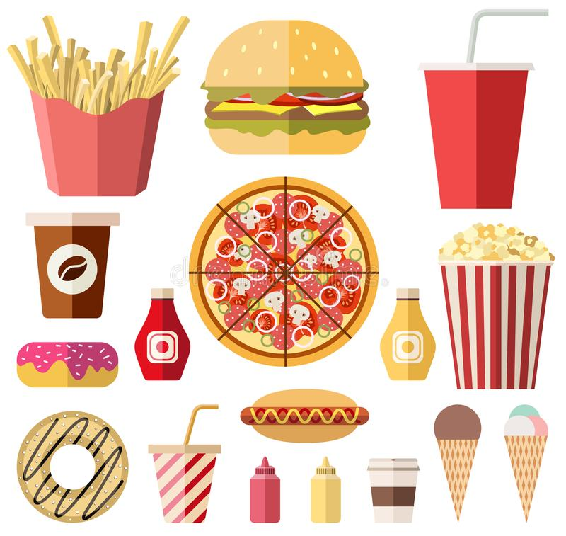 Vector la colección de iconos diseñados planos coloridos aislados de la comida y de los drins stock de ilustración