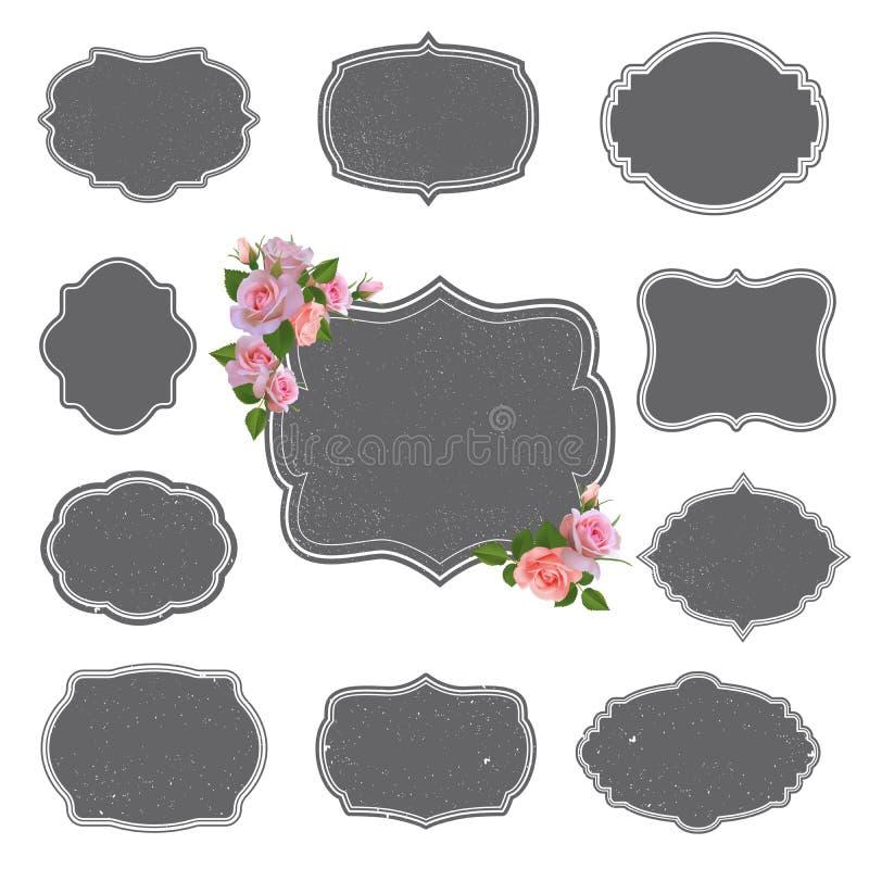 Vector la colección de las etiquetas retras del estilo, logotipos con las rosas stock de ilustración