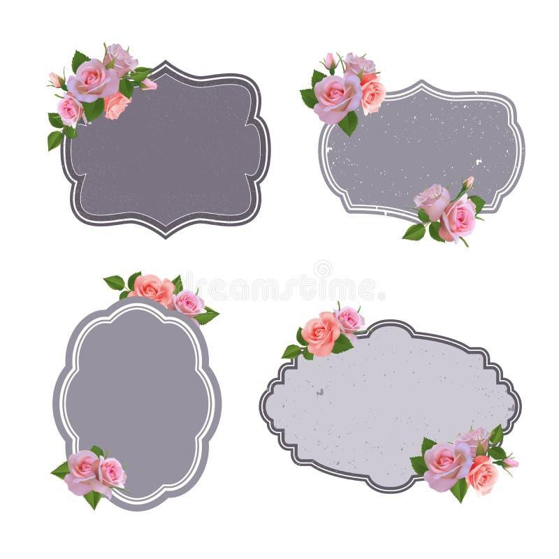 Vector la colección de las etiquetas retras del estilo, logotipos con las rosas ilustración del vector