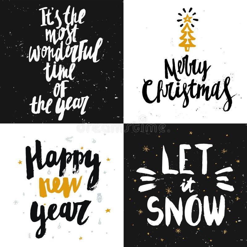Vector la colección de las tarjetas de la Navidad y del Año Nuevo con el le handdrawn stock de ilustración