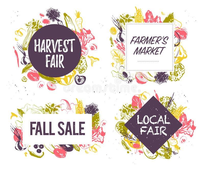 Vector la colección de mercado de los granjeros y de emblemas justos de la cosecha y las etiquetas con las verduras dibujadas man libre illustration