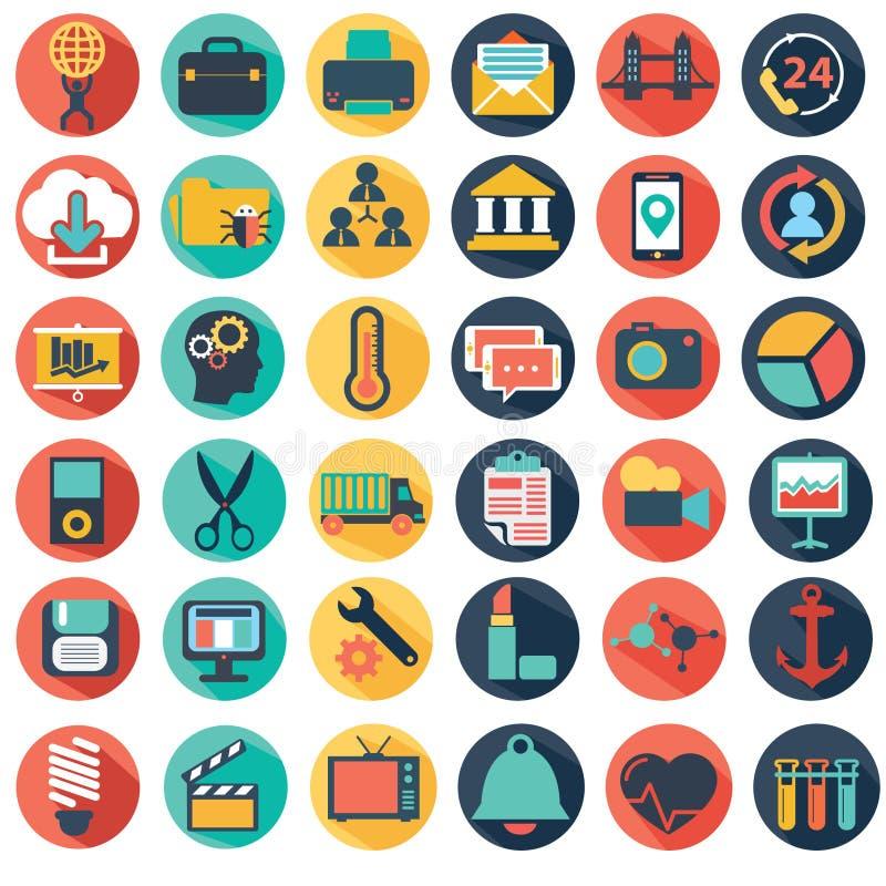 Vector la colección de negocio plano colorido y financie los iconos stock de ilustración