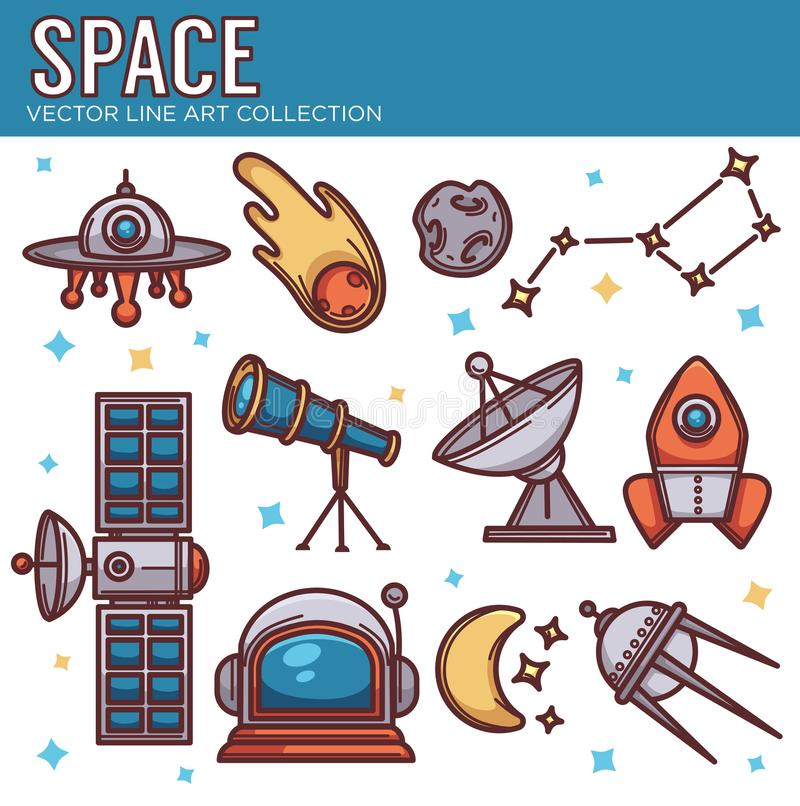 Vector la colección de objetos del cosmos del espacio en la línea estilo del arte en w ilustración del vector