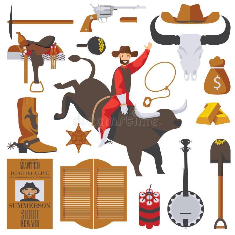 Vector la colección de objetos del oeste salvajes aislados en blanco El hombre en toro en el rodeo, accesorios de la fiebre del o libre illustration