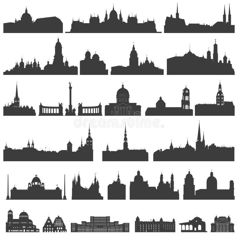 Vector la colección de palacios aislados, de templos, de iglesias, de catedrales, de castillos, de ayuntamientos, de edificios, d stock de ilustración