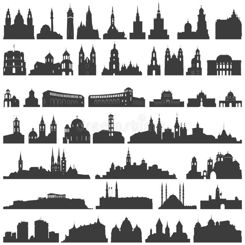 Vector la colección de palacios aislados, de templos, de iglesias, de catedrales, de castillos, de ayuntamientos, de edificios, d libre illustration