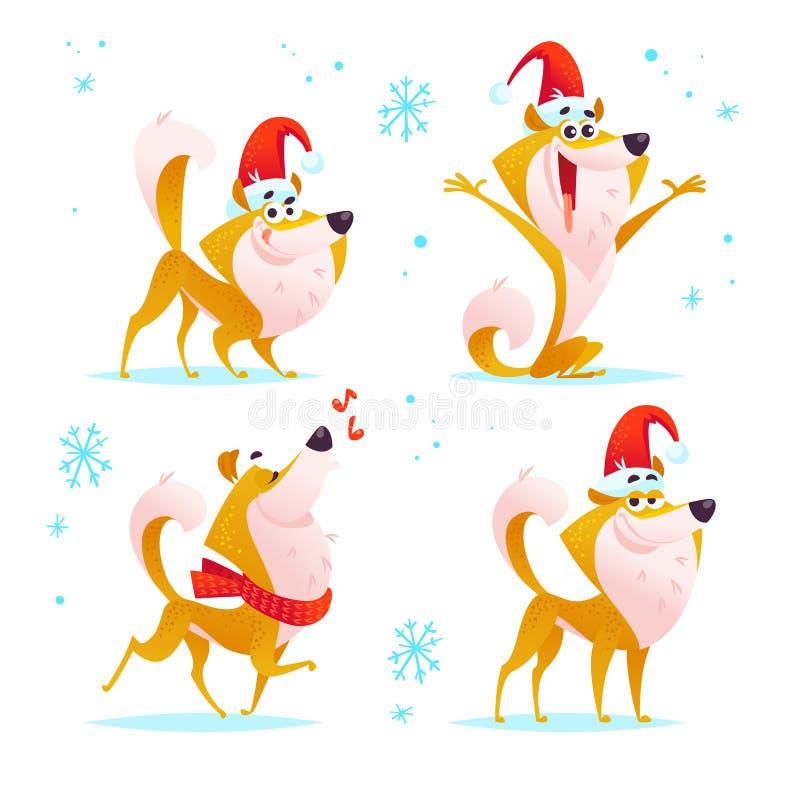 Vector la colección de perro sonriente divertido de la historieta en el sombrero de santa con el copo de nieve aislado en el fond libre illustration