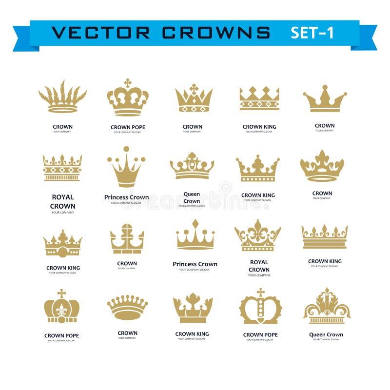 Vector la colección de rey creativo, reina, princesa, coronas del papa stock de ilustración