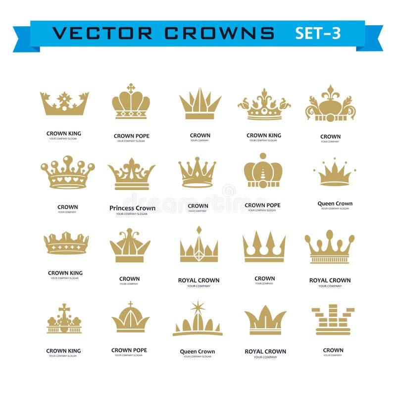Vector la colección de rey creativo, reina, princesa, coronas del papa ilustración del vector
