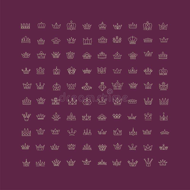 Vector la colección de símbolos creativos de las coronas del rey y de la reina o de l ilustración del vector