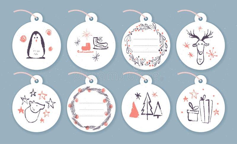 Vector la colección de tarjetas de Navidad, de etiquetas del regalo y de insignias aisladas en fondo ligero ilustración del vector