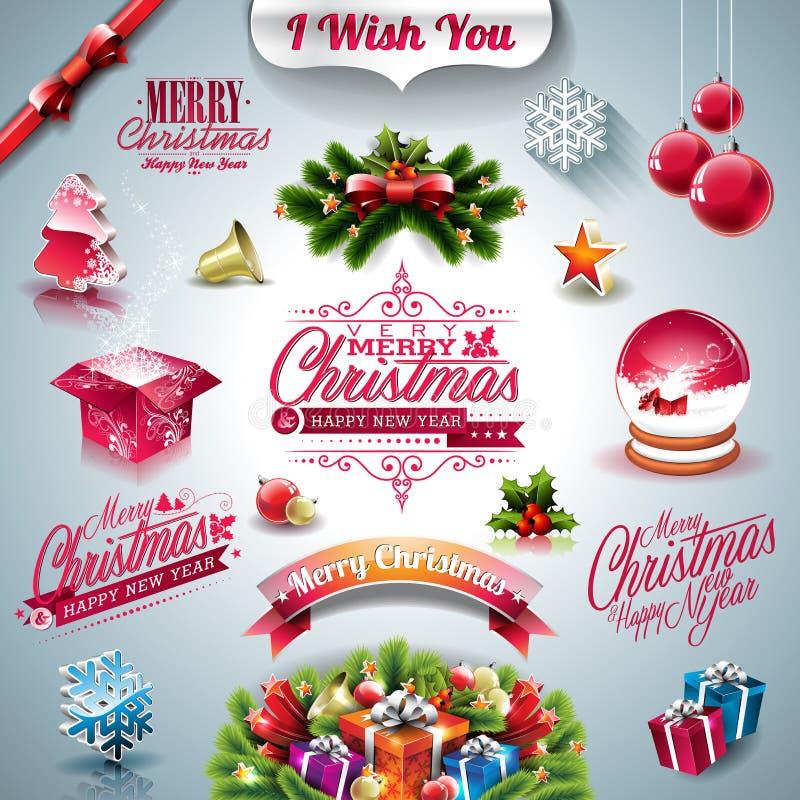 Vector la colección del día de fiesta para un tema de la Navidad con los elementos 3d en fondo claro stock de ilustración