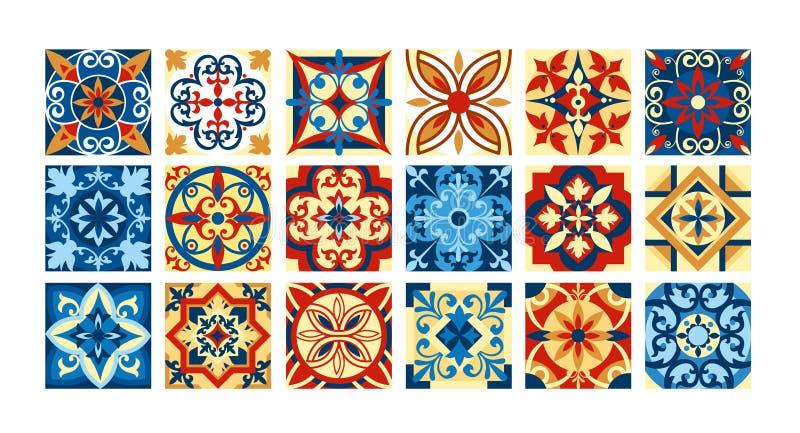 Vector la colección del ejemplo de baldosas cerámicas en colores retros Un sistema de modelos cuadrados en estilo étnico Vector ilustración del vector