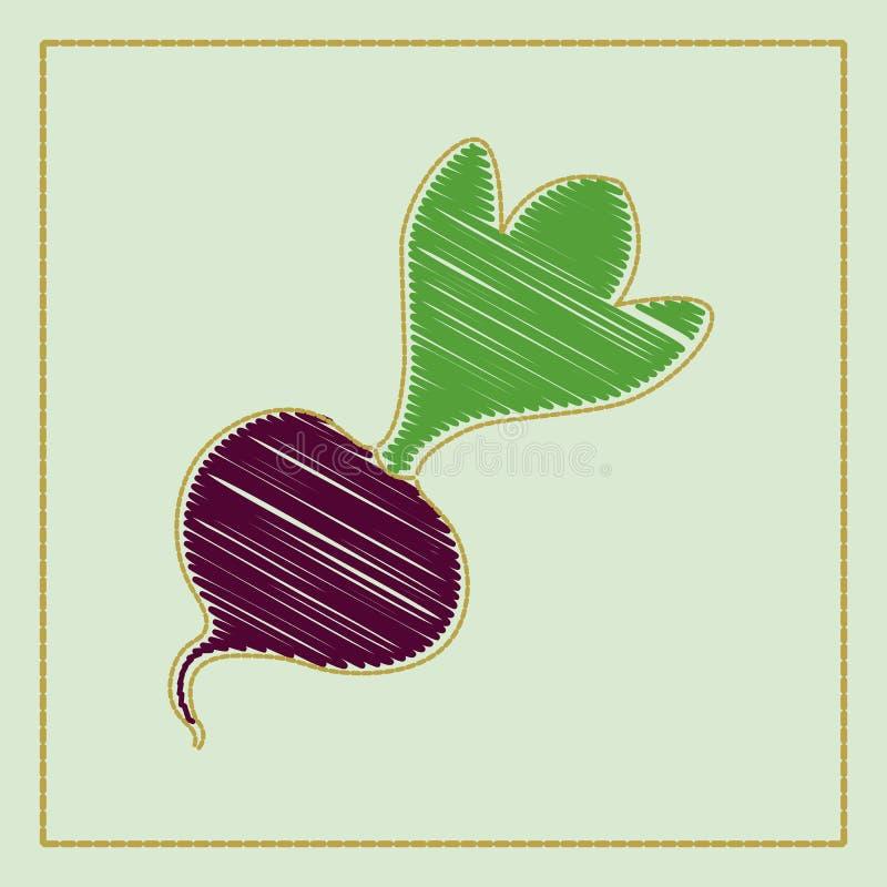 Vector la colección a mano del ejemplo de verduras en fondo oscuro en historieta o estilo decorativo del bordado stock de ilustración