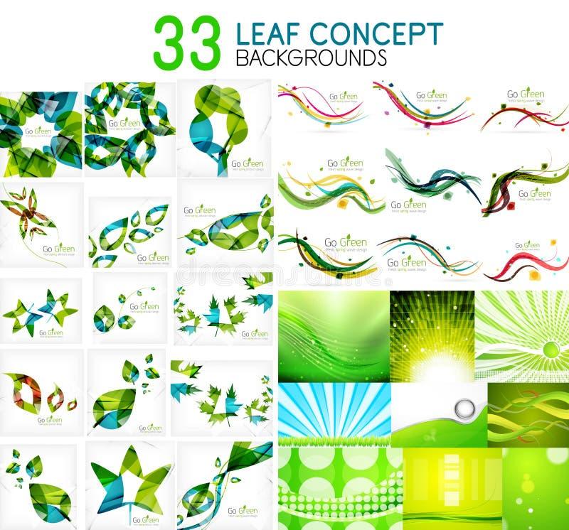 Vector la colección mega de conceptos, de iconos de la hoja, de verano y de ideas verdes de la primavera stock de ilustración
