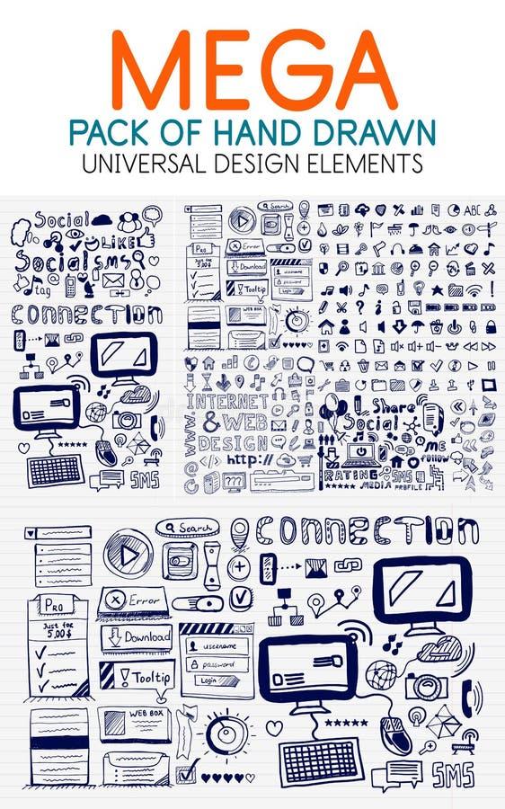 Vector la colección mega de elementos dibujados mano de la tecnología stock de ilustración