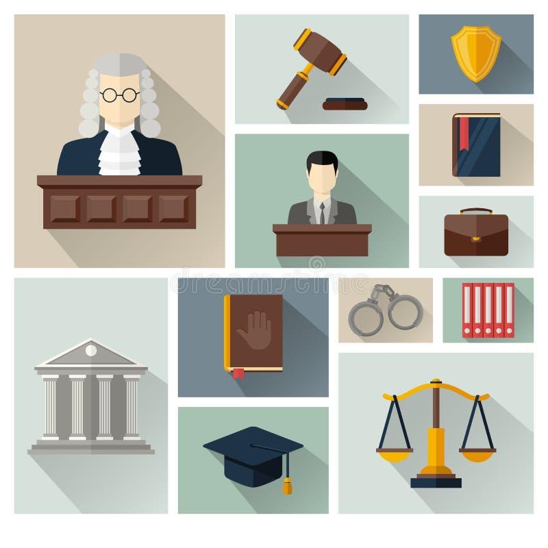 Vector la colección o el sistema de iconos de la ley y de la justicia ilustración del vector