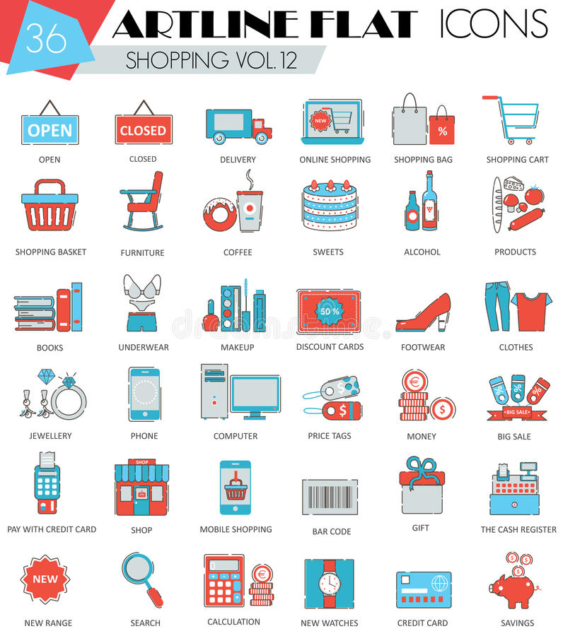 Vector la compera linea piana icone di artline ultra moderno del profilo per il web e i apps royalty illustrazione gratis