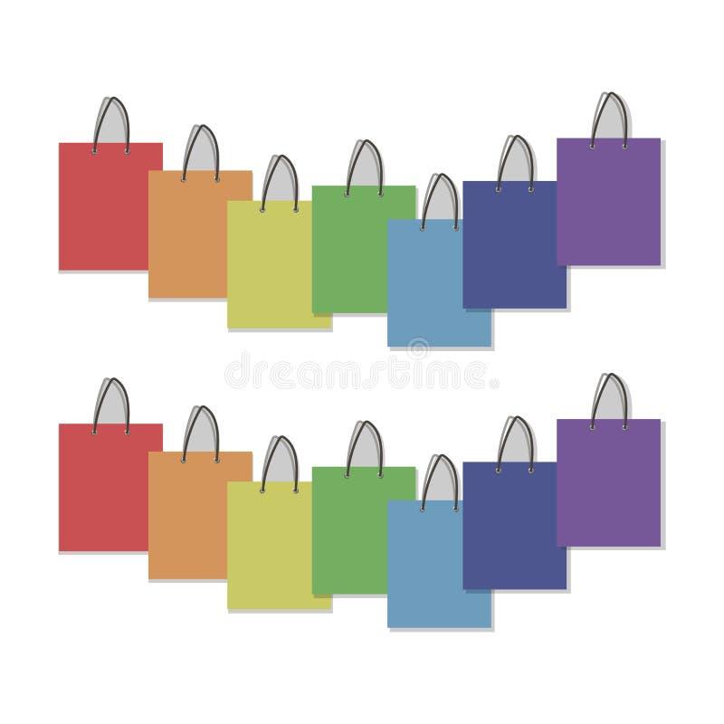 Vector la composición de papel rectangular del grupo de los colores del arco iris de los dibujos de paquetes con las manijas aisl ilustración del vector