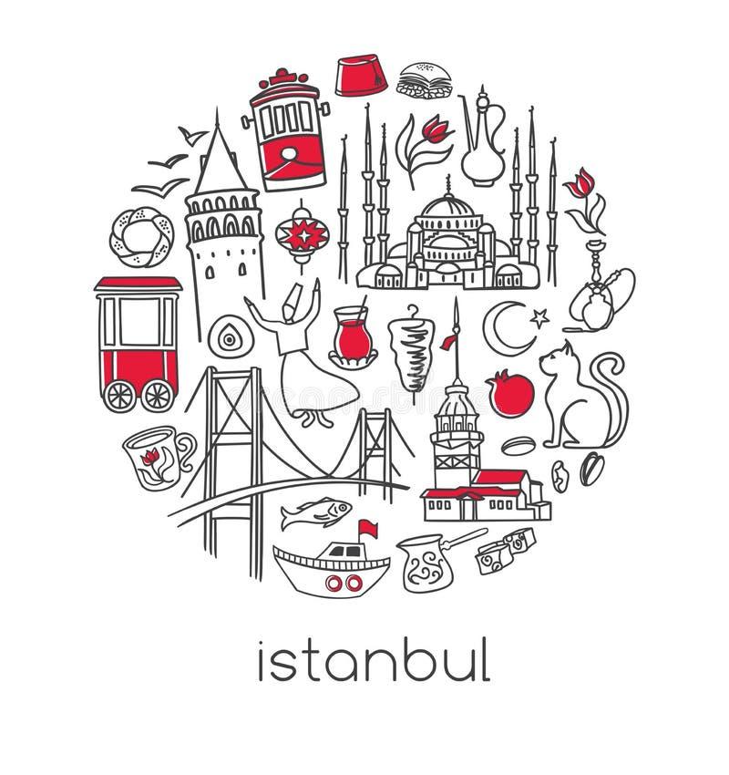 Vector la composizione nel cerchio con i simboli turchi famosi di Costantinopoli illustrazione di stock