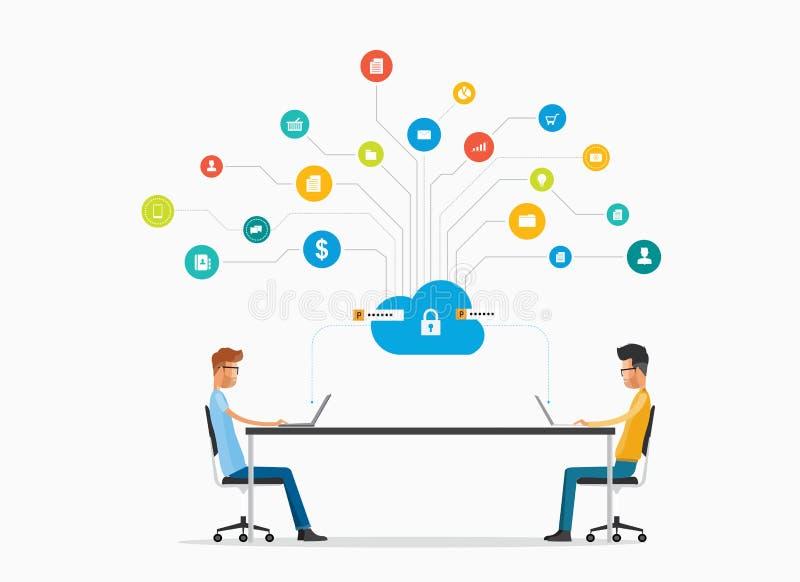 Vector la comunicación empresarial de la gente y el trabajo en concepto de la red de la nube ilustración del vector
