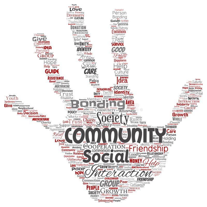 Vector a la comunidad, social, impresión de la mano de la conexión libre illustration