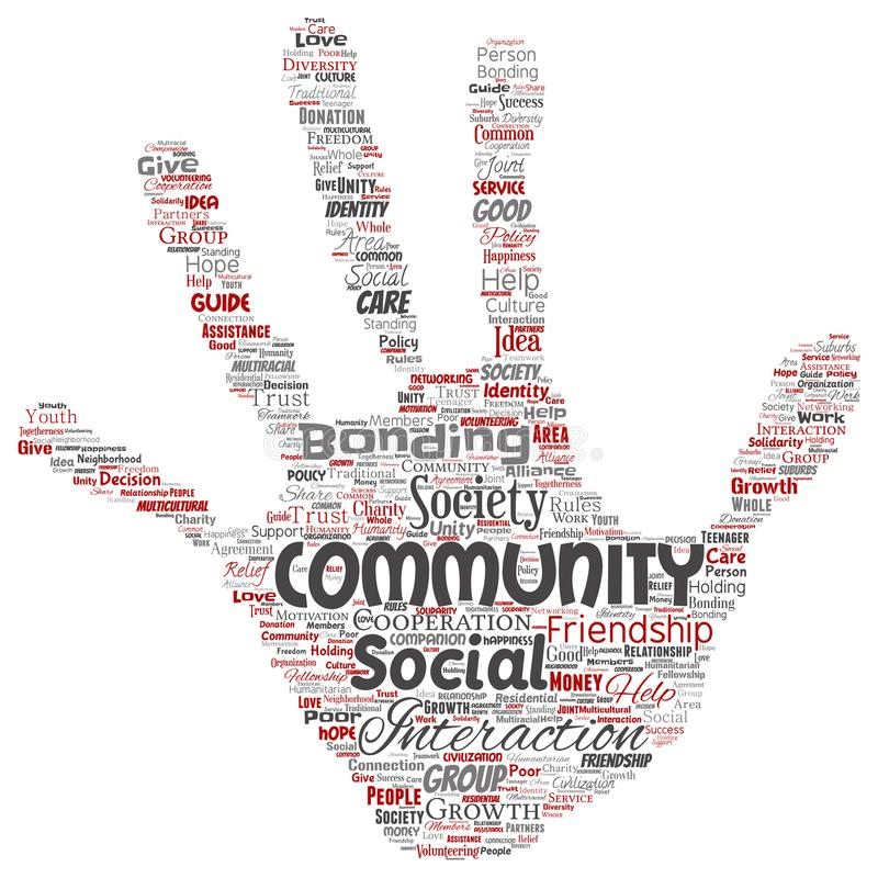 Vector la comunità, il sociale, stampa della mano del collegamento royalty illustrazione gratis