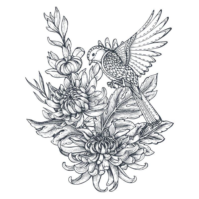 Vector la corona con i fiori disegnati a mano del crisantemo e un uccello illustrazione di stock