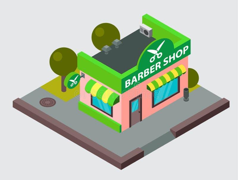 Vector la costruzione isometrica della via della città del negozio di barbiere isolata Piano urbano della facciata del blocchetto royalty illustrazione gratis